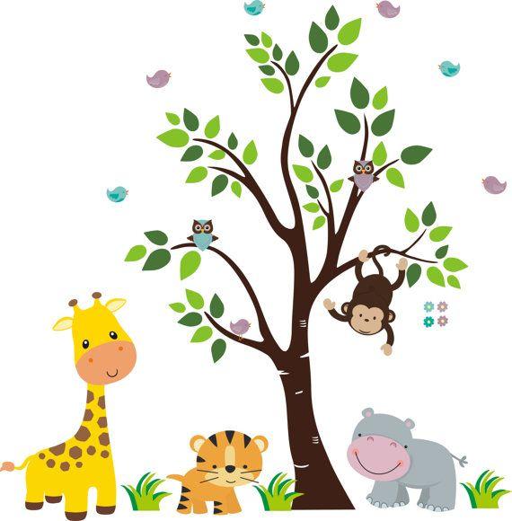 Safari Wall Decal with Giraffe Tiger Hippo by StickEmUpWallArt, $170.00