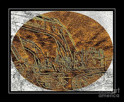 Barbara Griffin - Brass-type Etching - Oval - Construction Worker