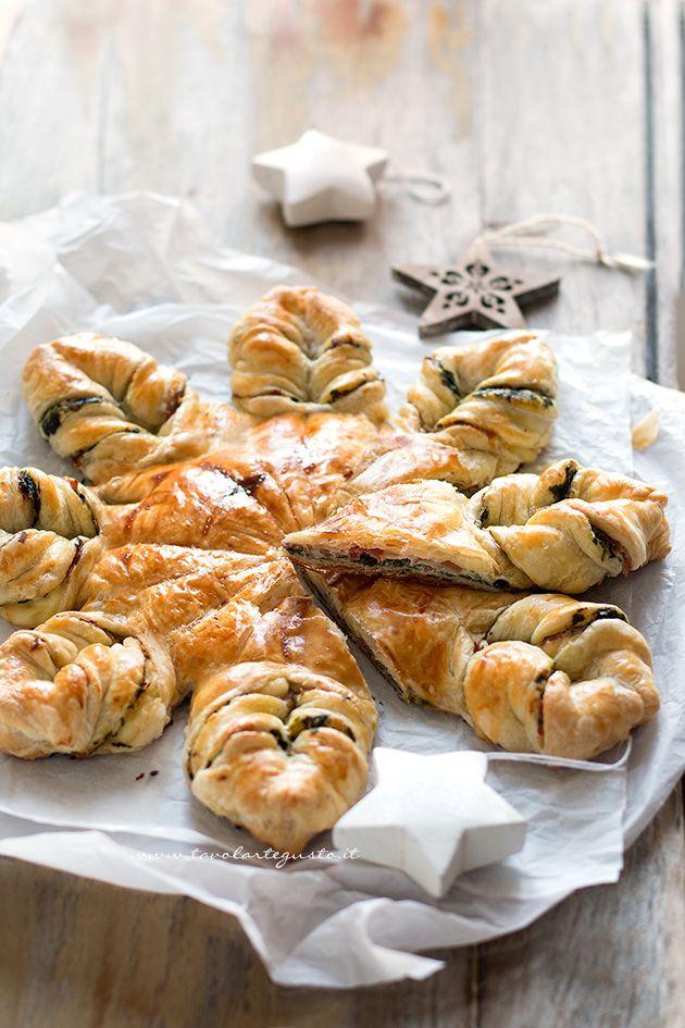 Fetta di Stella di Pasta sfoglia salata (Torta salata a forma di stella) - Ricetta Stella di pasta sfoglia