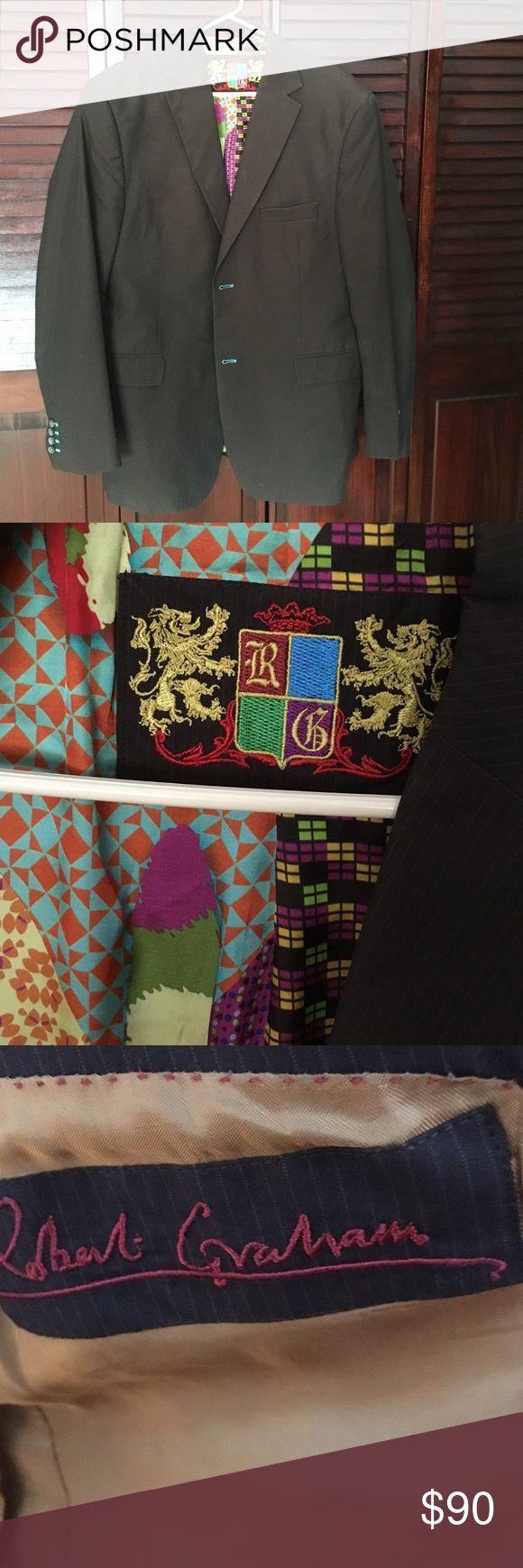 Robert Graham sport coat 44L Great looking designer Robert Graham sport coat pinstripe great detail hardly worn Robert Graham Suits & Blazers Sport Coats & Blazers