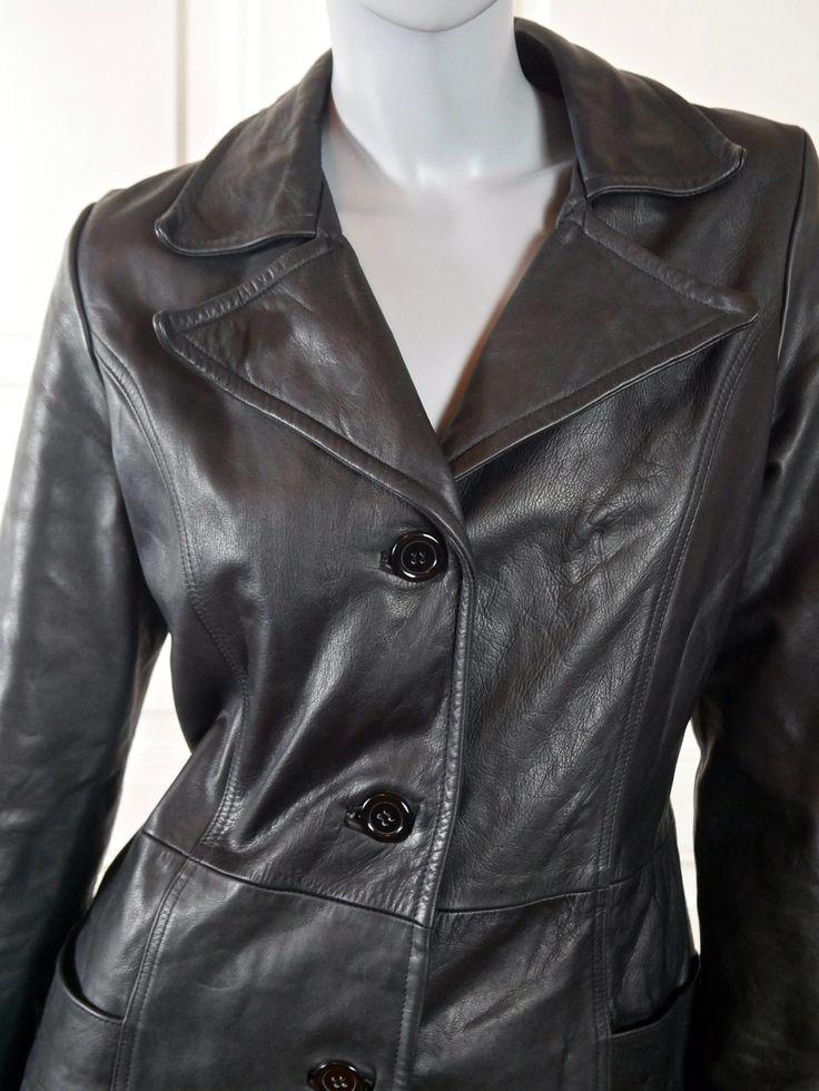 Women's Leather Jacket, Black Leather Coat, 1970s French Vintage Leather Coat, Ladies' Leather Jacket w Wide Lapels: Size 6 US, Size 10 UK by YouLookAmazing on Etsy