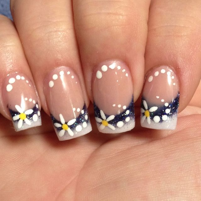 Charcoal gray, glitter & white french manicure tips with small yellow & white daisies, flowers & graduated size white polka dots, free hand nail art