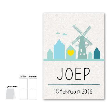 Holland - Joep #Geboortekaartje #skyline #jongetje #Holland #molen