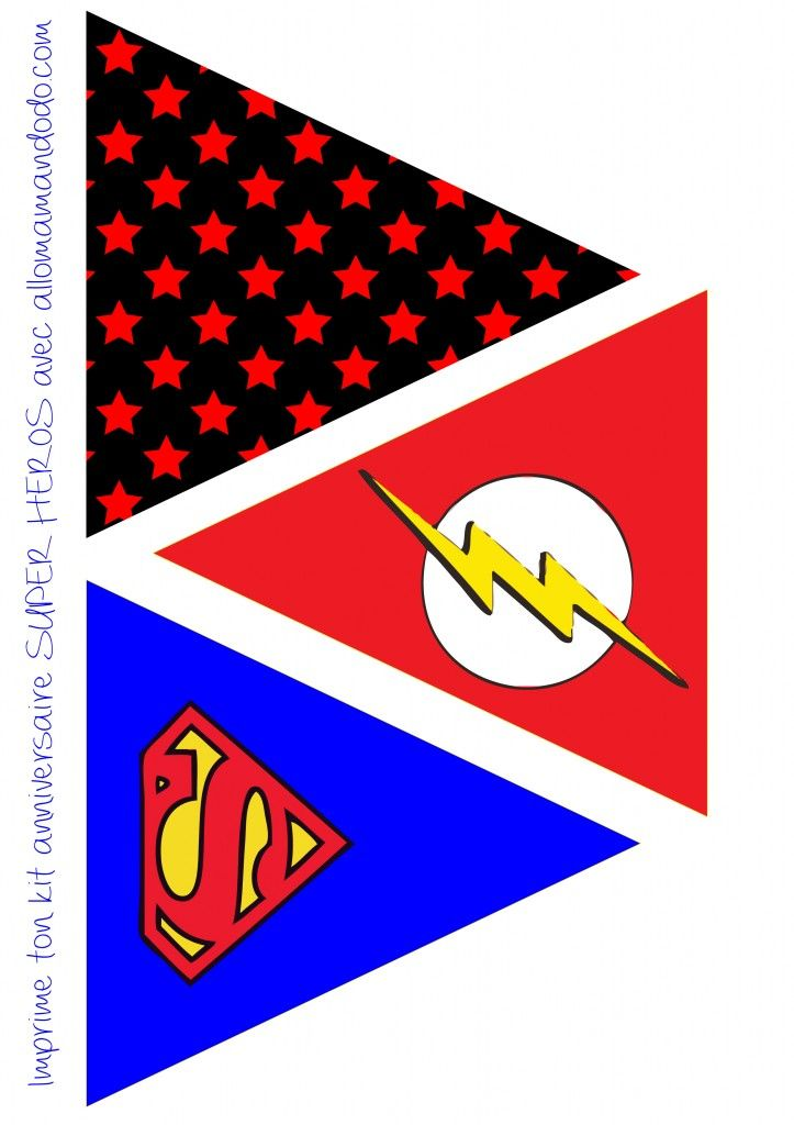 guirlande fanions papier imprimer anniversaire birthday free printable  http://allomamandodo.com/anniversaire-de-super-heros-deco-sweet-table-kit-imprimer-en-cadeau/
