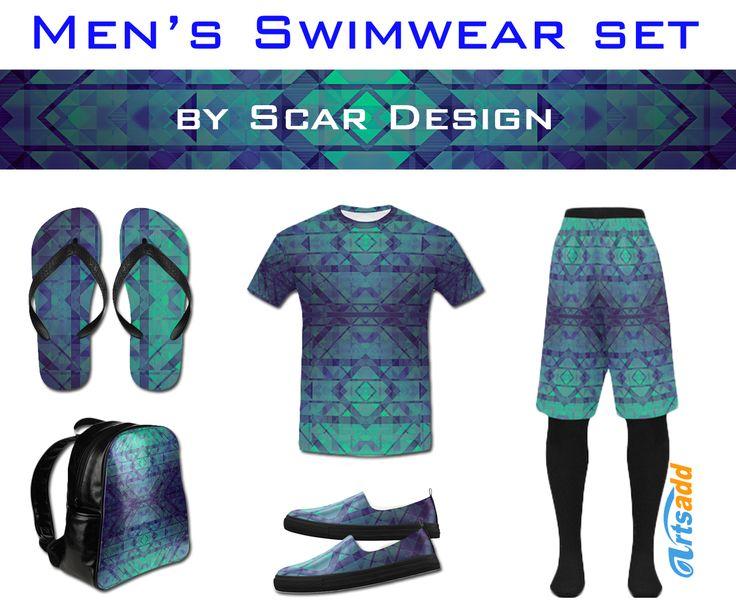 Men's Swimwear Set by Scar Design #trunk #style #summer #fashion #bag #shoes #canvasshoes #spring #springshoes #swim #swimtrunk #summer2017 #look #summerlook #menslook #mensswimwear #gifts #flipflops  #tshirt #menstshirts #giftsforhim #colorful #gifts #swimwear #beach #beachset #swimwearset #backpack  #artsadd