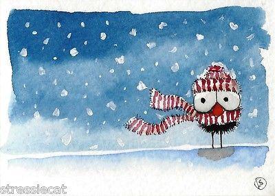 ACEO Original Painting Folk Art Christmas Winter Snow Bird Crow Scarf Hat Alone | eBay