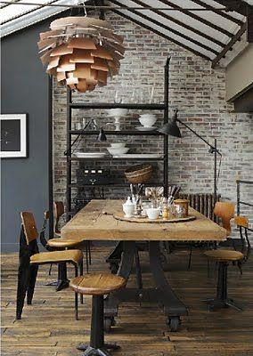 industrial loft: Dining Rooms, Lights Fixtures, Brick Wall, Industrial Kitchens, Industrial Dining, Interiors Design, Industrial Chic, Pine Cones, Industrial Design
