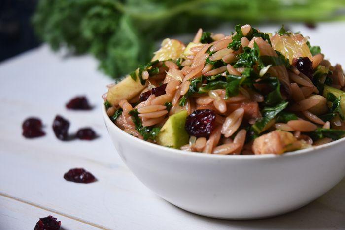 Orzo, Kale + Goat Cheese Salad with Raspberry Vinaigrette — Nikki Dinki Cooking