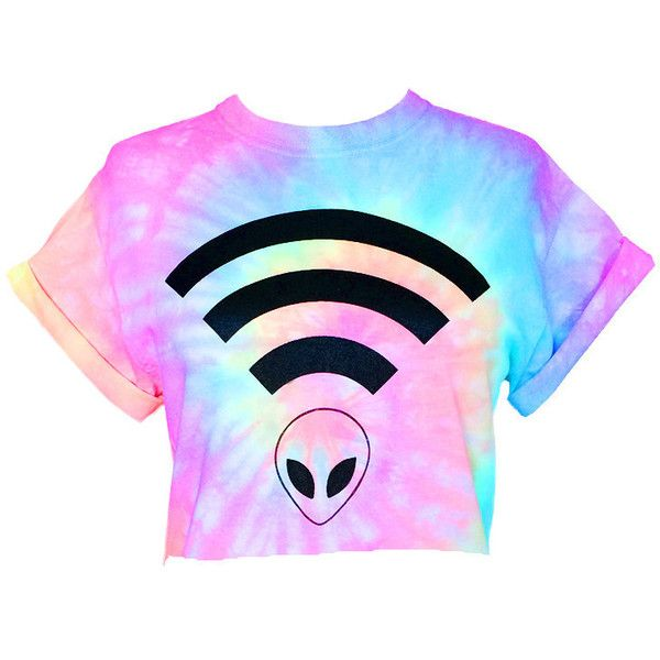 Alien Wifi Crop Top Pastel Tie Dye Alien Wifi Crop Tee Pastel Grunge... (£13) ❤ liked on Polyvore