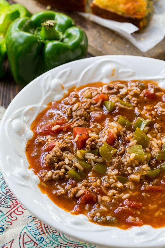 Stuffed Pepper Soup Spicy Southern Kitchen Recipe Stuffed Pepper Soup Stuffed Pepper Soup Crockpot Stuffed Peppers