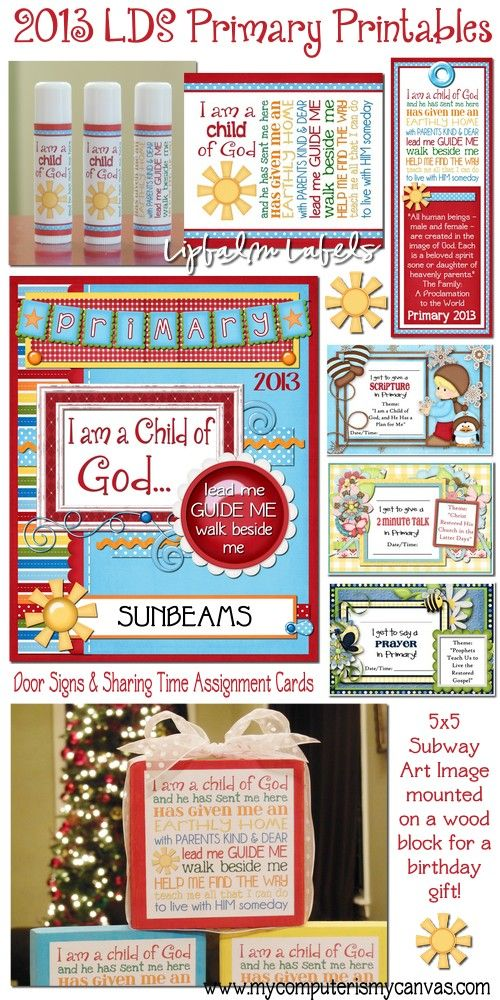 for LDS Primary... lipbalm labels, bookmarks, door signs, sharing time ...