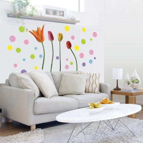 Wall Decals - YYone Colorful Tulip with Cute Circus DIY