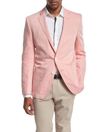 Woven+Two-Button+Sport+Coat,+Pale+Orange+by+BOSS+at+Neiman+Marcus.