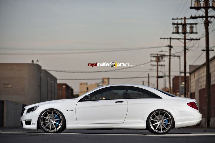 tucked matte white Mercedes CL63