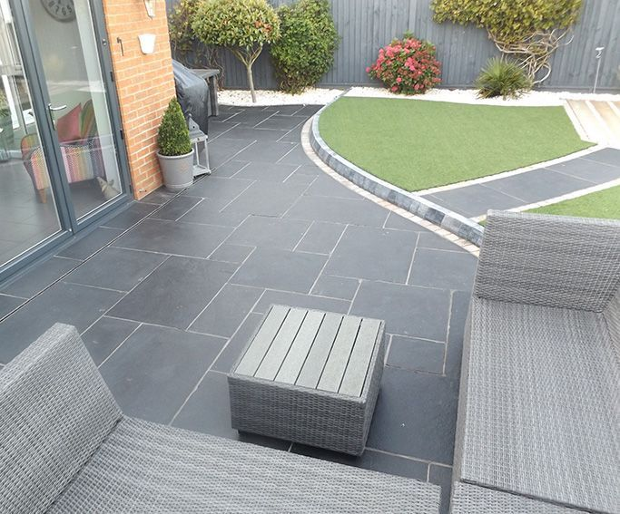 Carbon Black Limestone Flagstones | Modern Patio | Landscaping | #Garden #Design | Seating | | Decol Construction Ltd