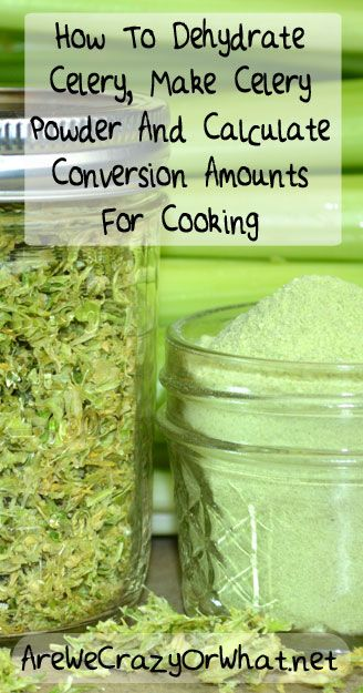 How To Dehydrate Celery, Make Celery Powder And Calculate Conversion Amounts For Cooking~AreWeCrazyOrWhat.net
