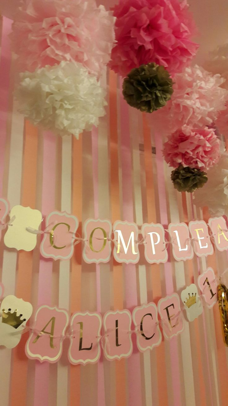 Pink and gold - First Happy Birthday
