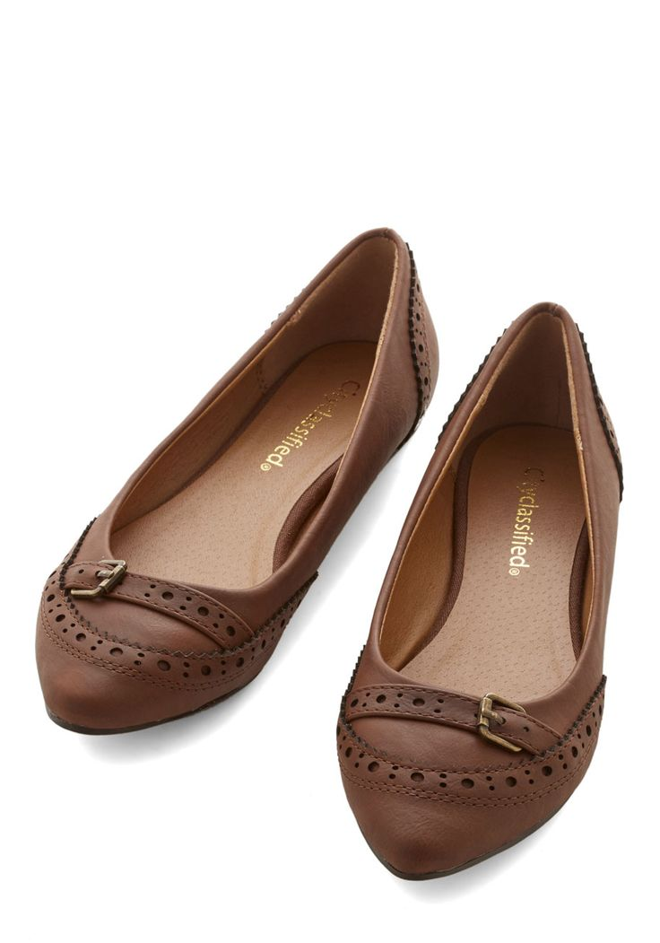 Unmatched Charm Flat in Brown. Only you could take a shoe as simple as these brown flats and make them amp up every ensemble! #brown #modcloth