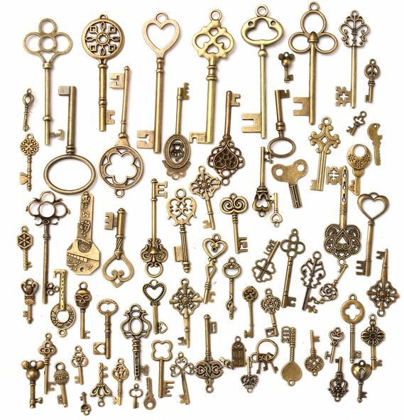 Vintage Charms Skeleton Keys Antique Look Pendants by SuppliesDiy