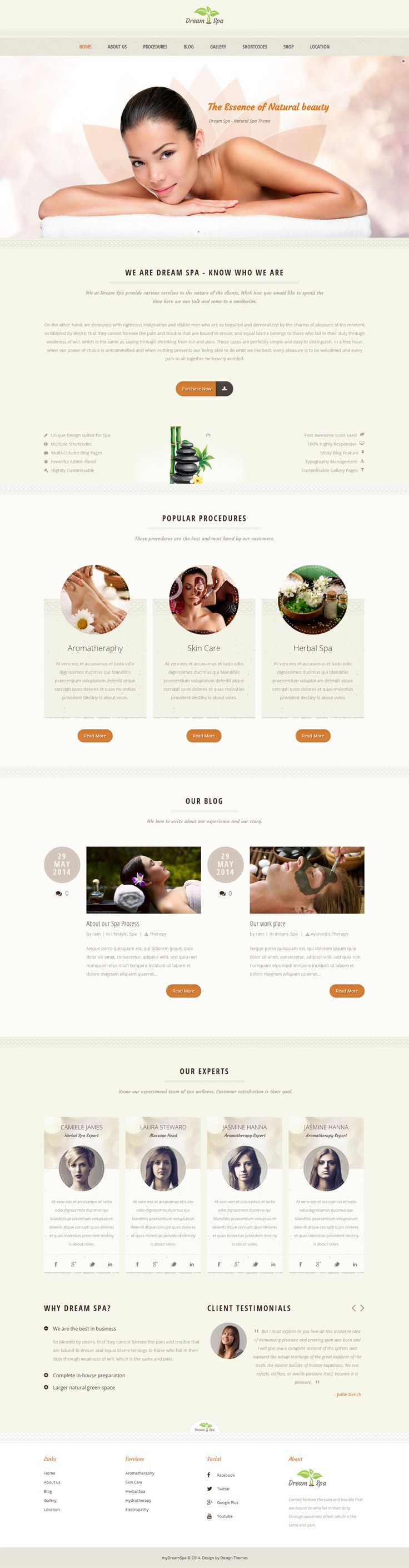 Rejuvenating Beauty Salon and Wellness Treatments WordPress theme with tons of potential features for Spa Business.Whether you create a fresh website for your salon or need a feel good refreshing style for your existing web presence, Dream Spa will be the best choice.