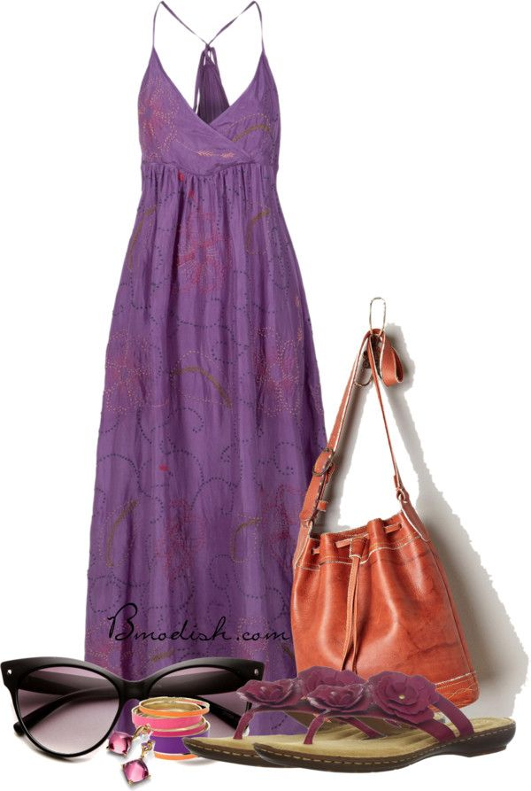purple summer maxi dress outfit polyvore bmodish