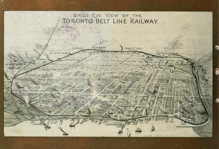 """1892 Map of Toronto & Suburbs Shewing the Location of the Toronto Belt Line Railway """"The Toronto Belt Line was supposed to be Toronto's first commuter railway. A real estate boom in the 1880s encouraged businessmen to form the Belt Land Corporation to speculate on opening up undeveloped land in northern Toronto. The Belt Line would link the suburbs to downtown Toronto with a railway that would encircle the city."""