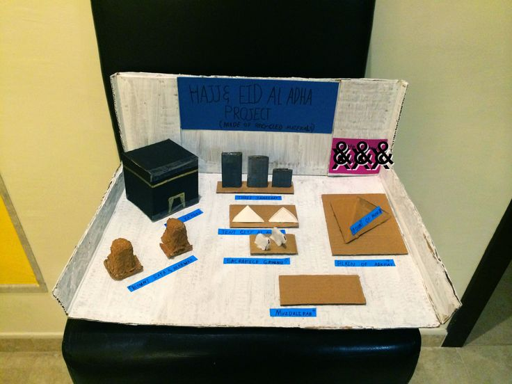 Hajj and Eid Al Adha project for school. Made of a printer box cardboard, cotton wool ( for the sheep) , a medicine box ( for the tents) and coloured paper that had been used on the other side.