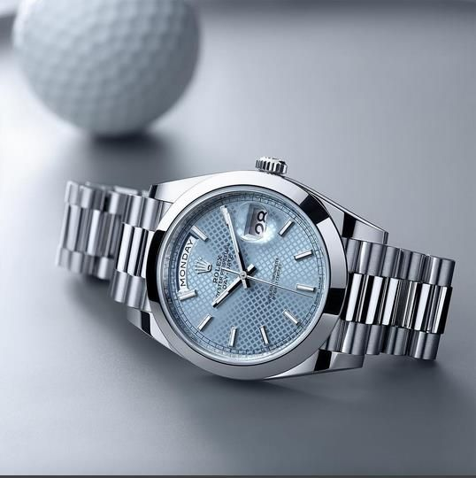 Ice blue dials are signatures of Rolex models in 950 platinum, such as this Day-Date 40 with a President bracelet.