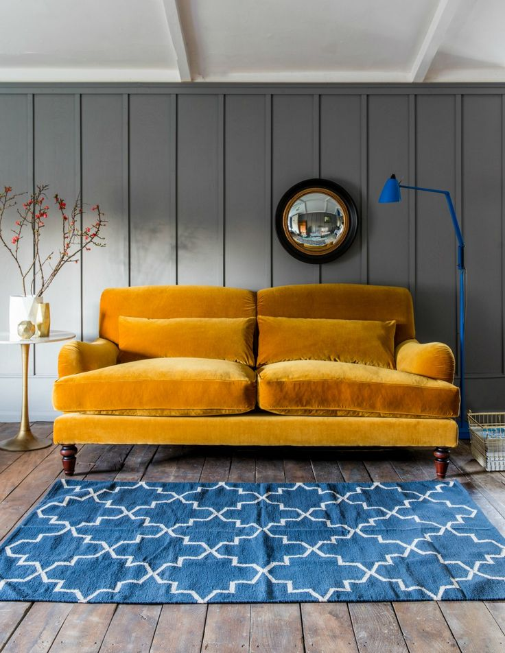 Velvet Three-Seater Sofa by Rose & Grey