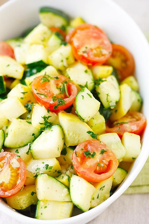 Garlic Herb Sauteed Zucchini & Squash – the healthiest and freshest side dish EVER with zucchini and squash, sauteed with garlic herb
