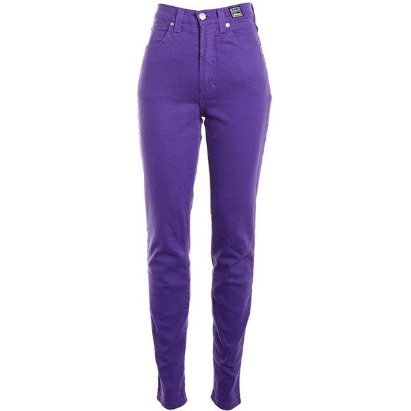 Pre-owned Women's Versace Jeans Couture Purple Jeans ($25) ❤ liked on Polyvore featuring jeans, pants, bottoms, purple, versace jeans couture and purple jeans