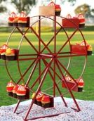 Ferris Wheel Cupcake Stand Rental in San Diego. Â Kids love the ferris wheel and what better way to display the cupcakes at your next party than on a Ferris Wheel Themed cupcake stand? This is perfect for a carnival theme party, company picnic, or any festive party or event.  Available for rent from San Diego Kids' Party Rentals.