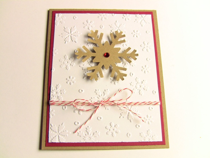 4 Snowflake Kraft Handmade Christmas Cards by zuCards on Etsy, $8.00