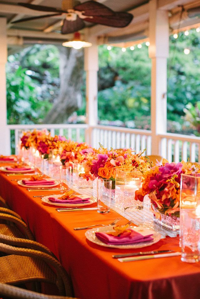 Pink and orange wedding tablescape {Photo by James Rubio via Project Wedding}