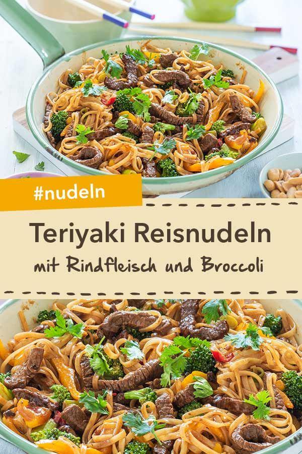 Teriyaki-Reisnudeln mit Rindfleisch und Brokkoli