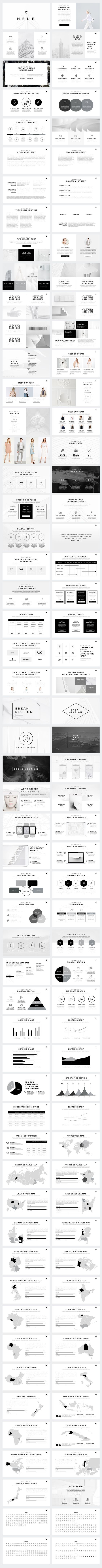 Present your works in a professional and clean way with Neue Minimal PowerPoint Template.