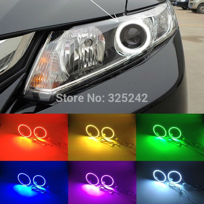 (35.00$)  Know more  - For honda civic 2012 2013 2014 9G Excellent Angel Eyes kit Multi-Color Ultrabright 7 Colors RGB LED Angel Eyes Halo Ring