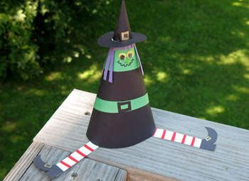 Cone Witch Craft: Halloween Crafts for Kids! This link even connects to the pattern for your construction paper!