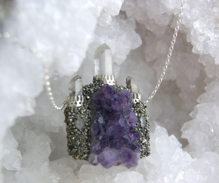 Fairy castle necklace, crystal amethyst quartz castle with sterling silver and herkimer diamonds