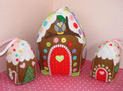 little felt gingerbread houses