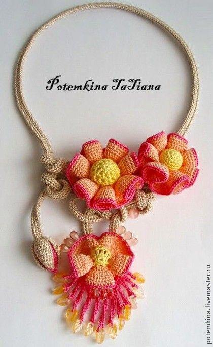 """Колье """"Дюна"""" - бежевый,персиковый,желтый,Персиковый цвет,розовый цвет"""