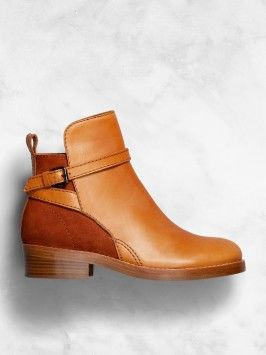 Brown buckle booties