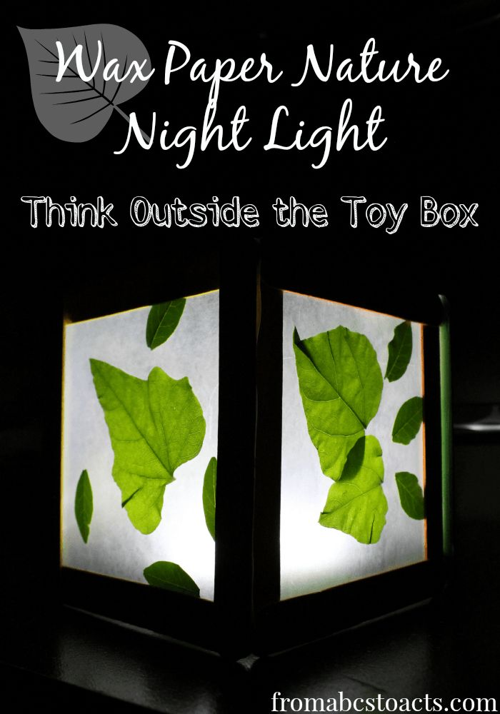 Such a cool night light to make for a little nature lover's room!  The colors of the leaves are so much brighter when the light shines behind them and it is so easy to make!