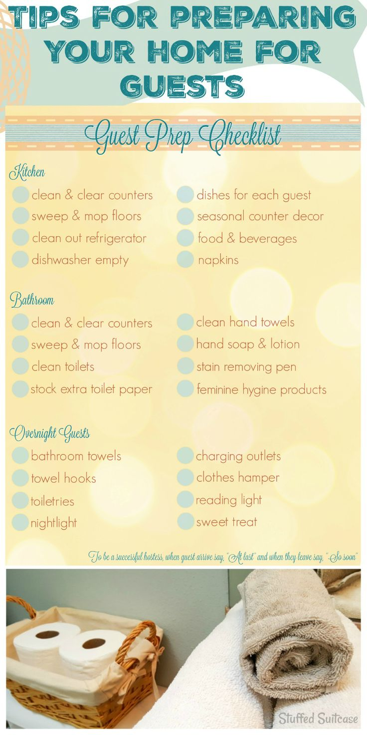 Get your house ready for guests with this handy guest prep checklist. Also, some great tips for hosting friends in your home.