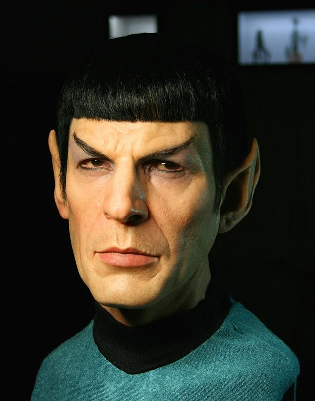 """California-based artist Jordu Schell created an incredibly realistic sculpture of actor Leonard Nimoy as Spock from Star Trek, using """"nothing but silicone, hair, fabric and paint."""""""