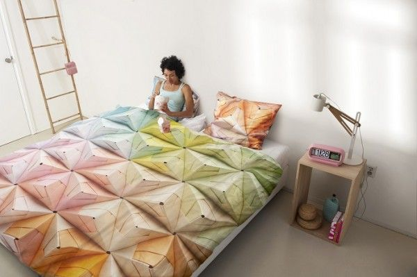 geometric origami graphic bedding design by Snurk.