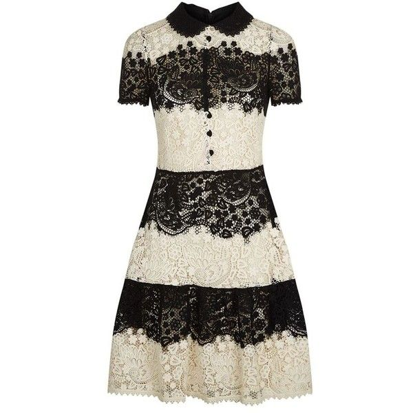 Red Valentino Two-Tone Lace Dress ($1,140) ❤ liked on Polyvore featuring dresses, red valentino, lace dress, 2 tone dress, two-tone dress and lacy dress