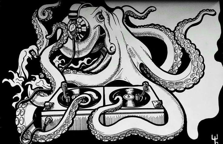 Hey Mr. DJ... Octopus #ink #posca #pen #drawing #moleskine by Wouter Haine www.dutch-designs.eu