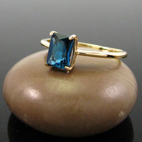 London topaz ring london blue topaz 14 gold by MismatchedEarrings