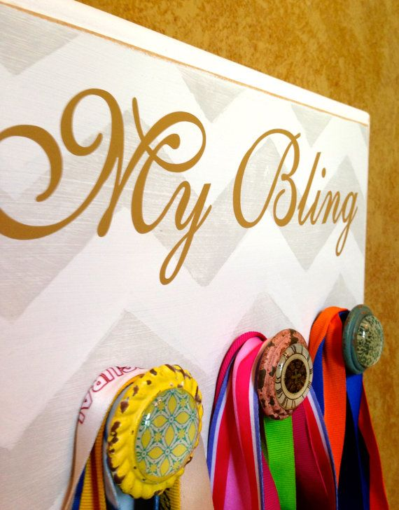 Running Medal Holder, Half Marathon, Marathon, TRI Medal Display Holder, Jewelry Chevron Plaque - My Bling on Etsy, $34.99